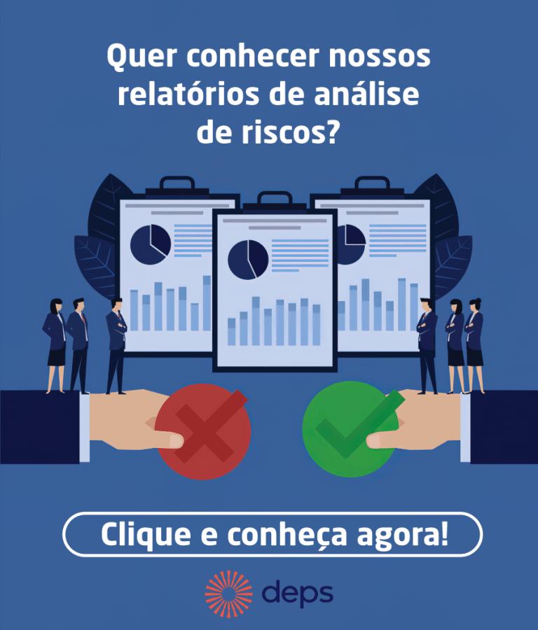 Gráficos com a frase: Quer conhecer nossos relatórios de análise de risco?